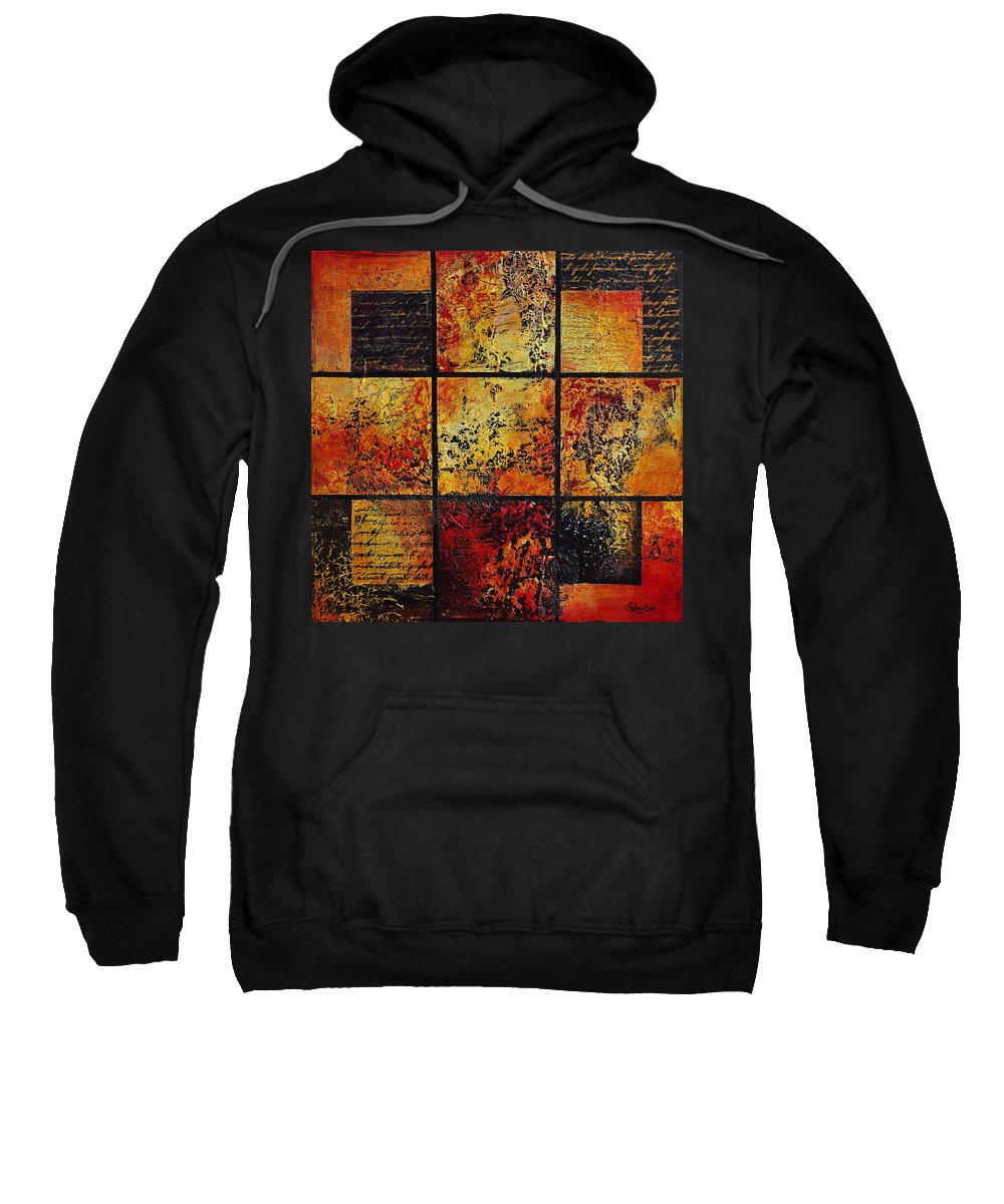 Abstract Sweatshirt featuring the painting Trial By Fire by Cindy Johnston