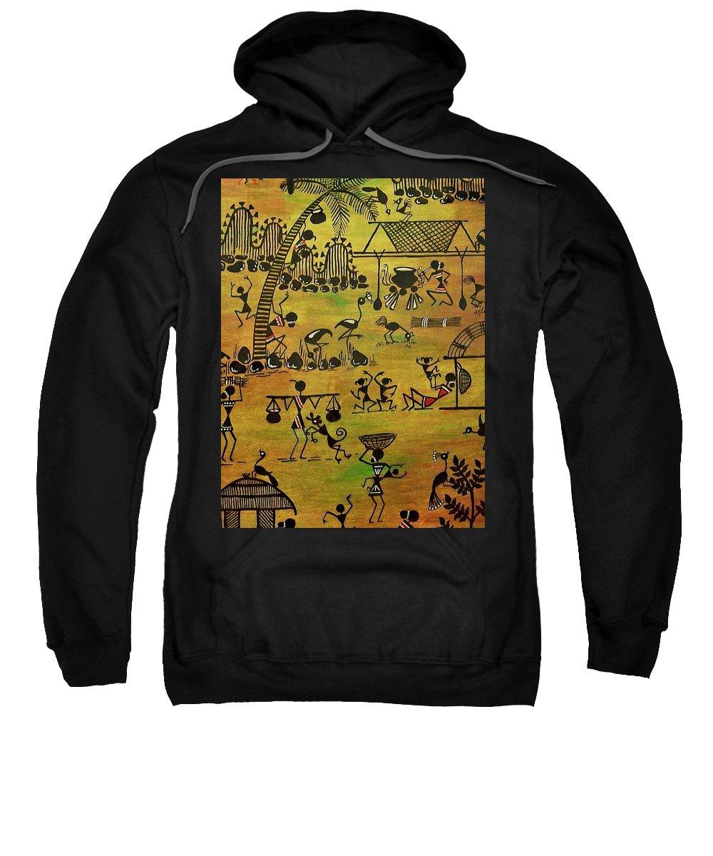 Warli Sweatshirt featuring the painting Tribals I by Ivy Sharma