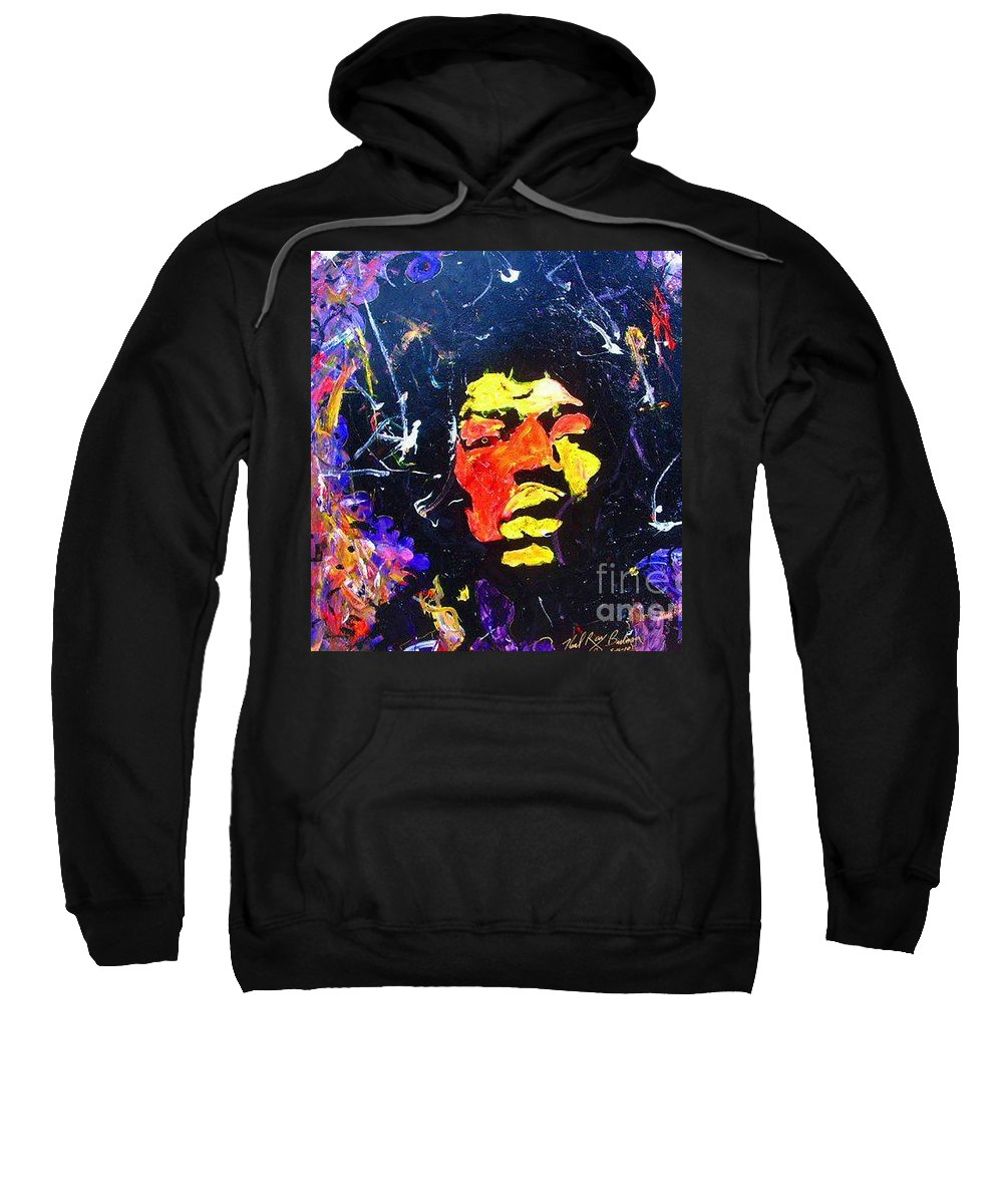 Sweatshirt featuring the painting Tribute To Jimi Hendrix by Neal Barbosa