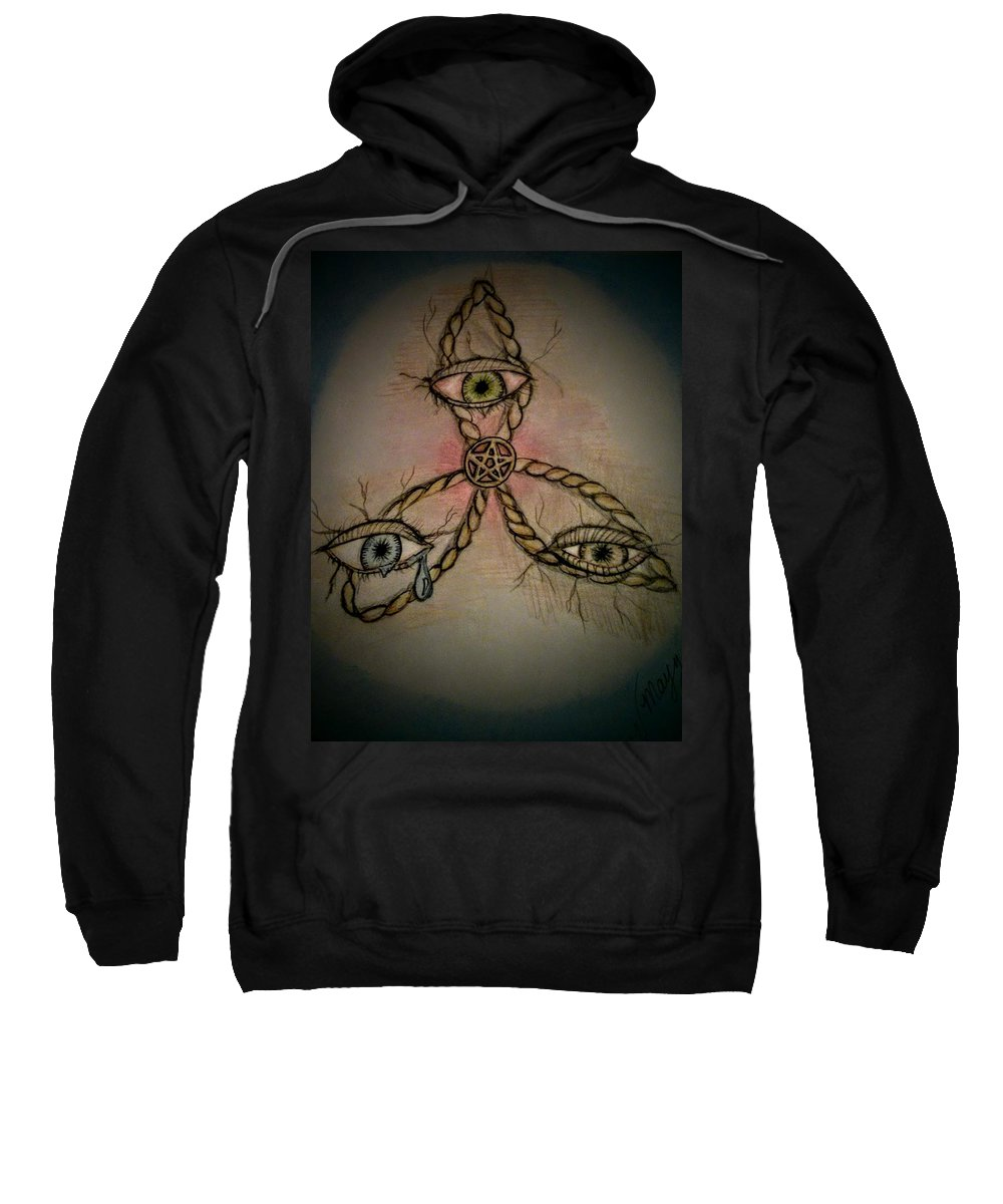 Sweatshirt featuring the drawing Trinity Eyes by Valerie Mayze