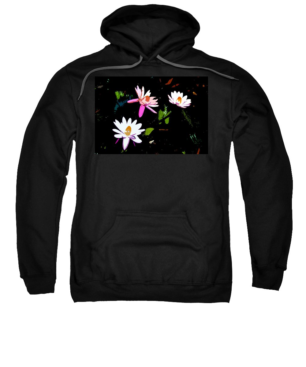 Flowers Sweatshirt featuring the painting Triple Beauties by David Lee Thompson