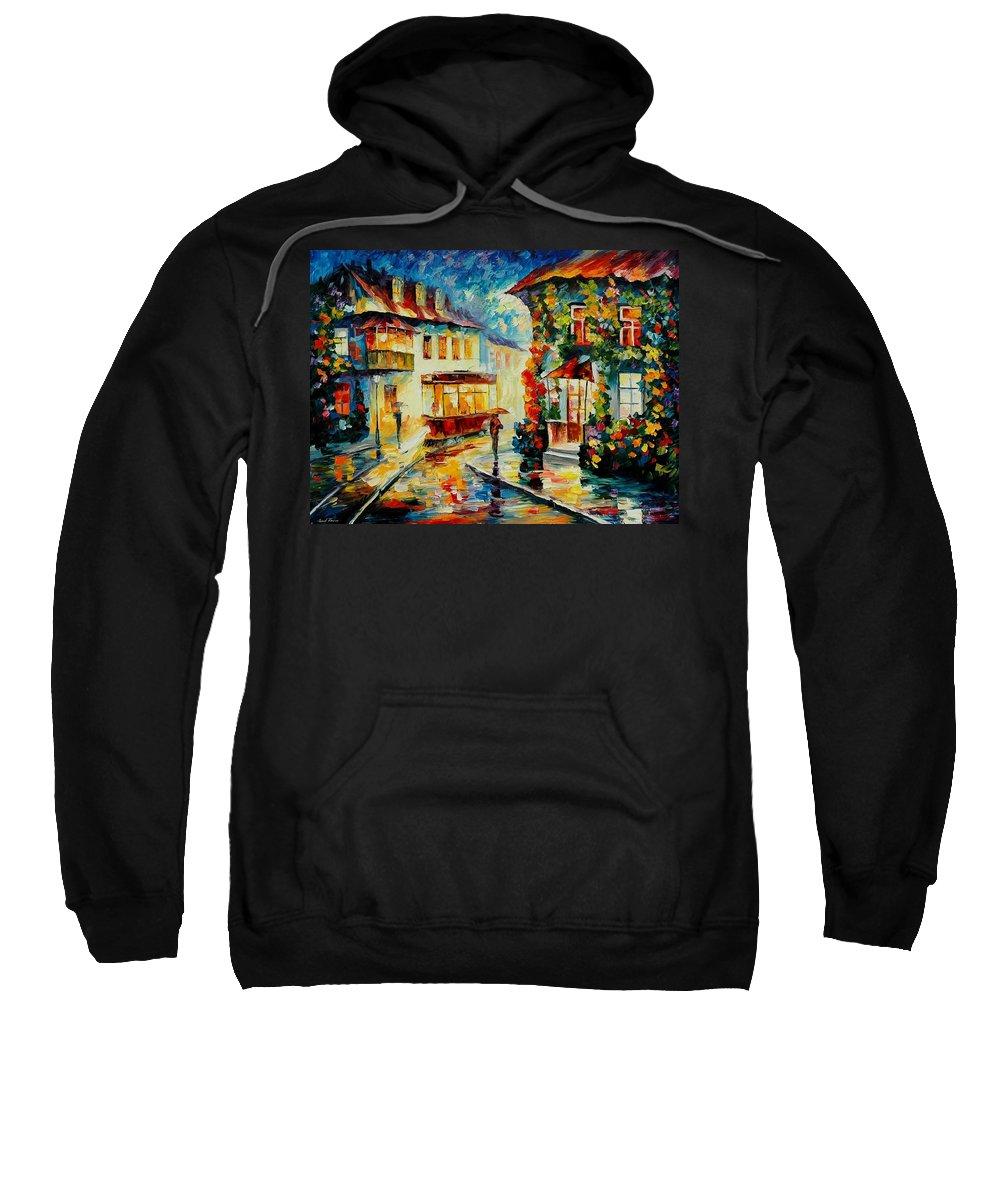 Afremov Sweatshirt featuring the painting Trolley by Leonid Afremov