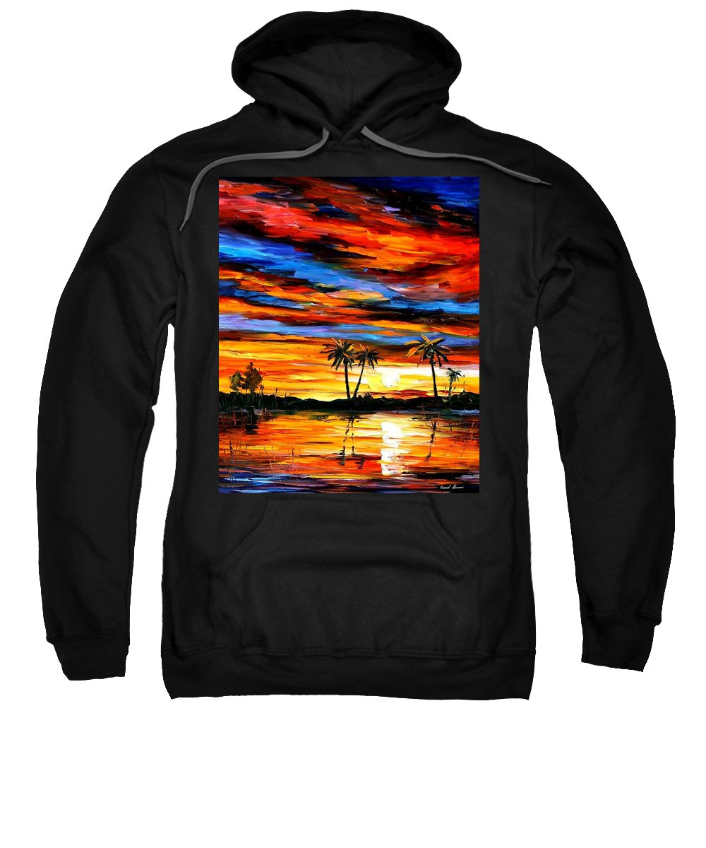 Afremov Sweatshirt featuring the painting Tropical Sunset by Leonid Afremov