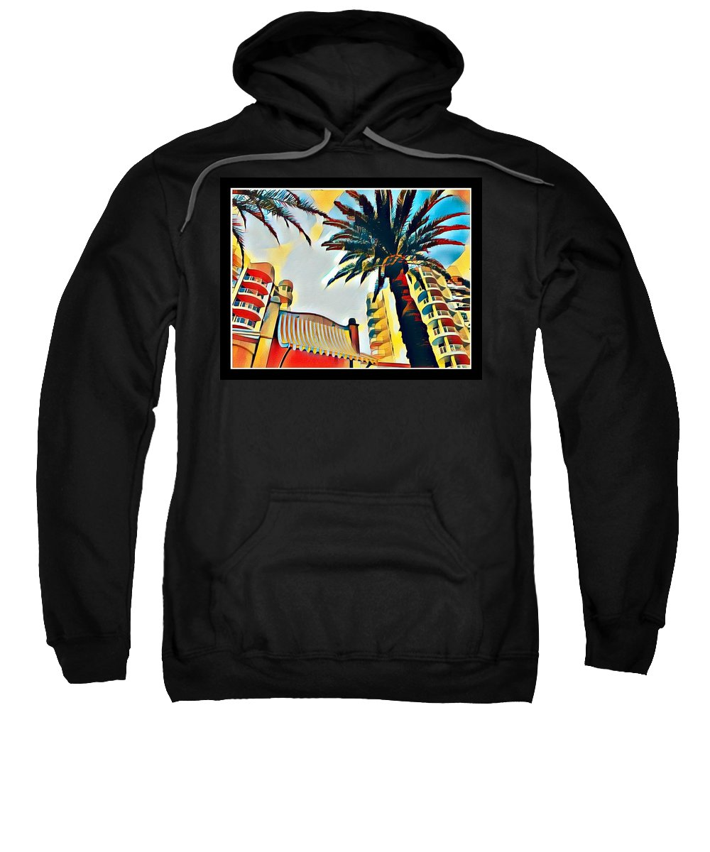Tropical Sweatshirt featuring the digital art Tropicano Paradise by Anthony Robinson