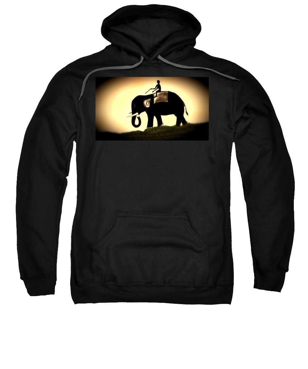 Elephant Sweatshirt featuring the painting True Relationship by Vedant Tailang