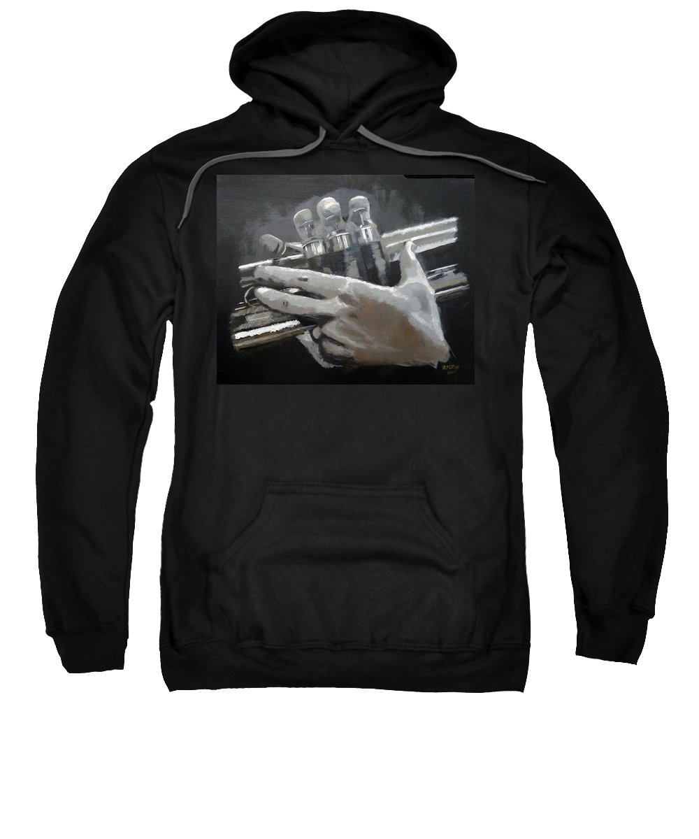 Trumpet Valves Sweatshirt featuring the painting Trumpet Hands by Richard Le Page