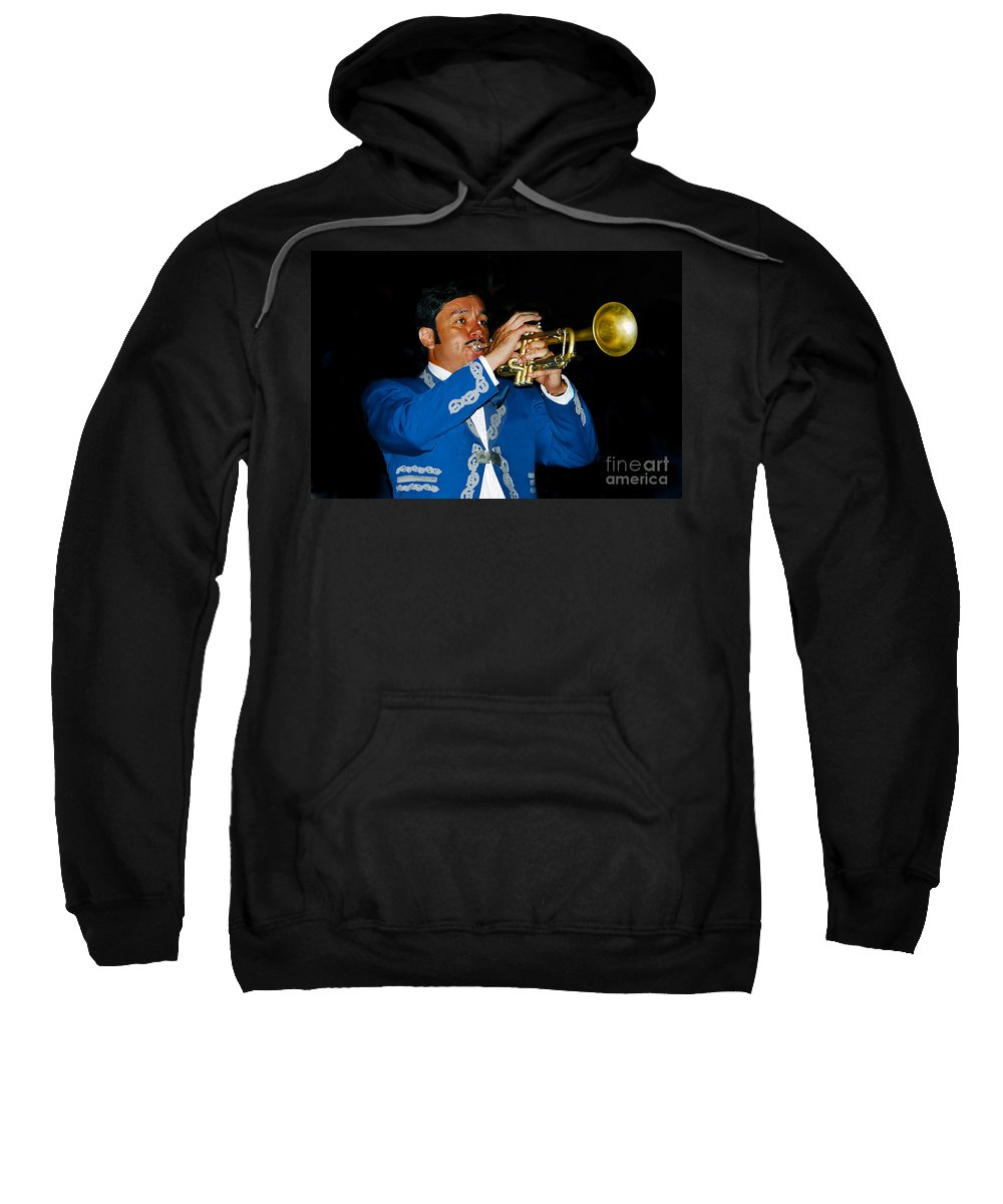 Trumpet5 Sweatshirt featuring the photograph Trumpet Player by David Lee Thompson