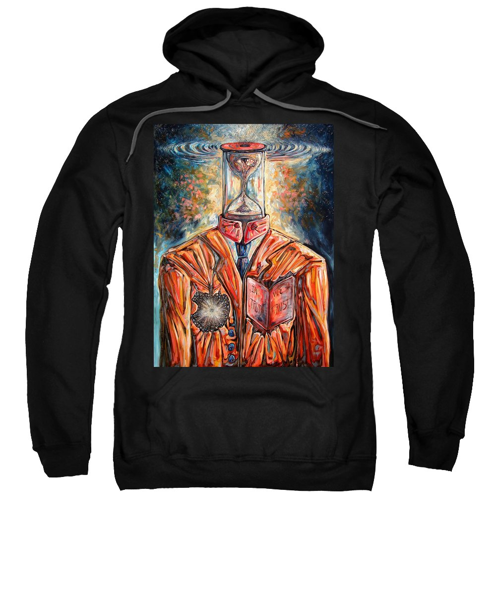 New Age Sweatshirt featuring the painting Truth Running Out Of Time by Darwin Leon