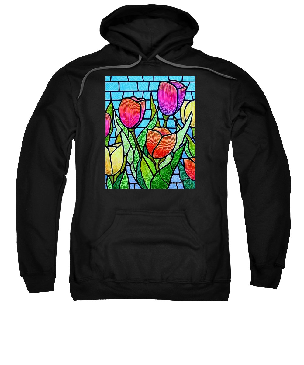 Tulips Sweatshirt featuring the painting Tulip Garden by Jim Harris