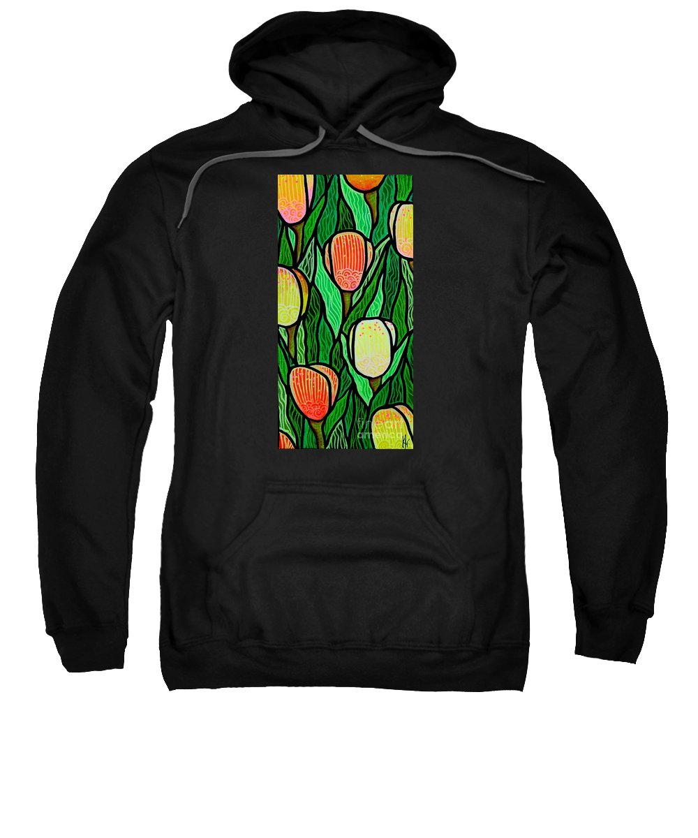 Tulips Sweatshirt featuring the painting Tulip Joy 2 by Jim Harris