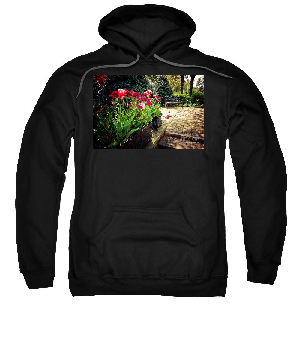 Spring Sweatshirt featuring the photograph Tulips And Bench by Joan McCool