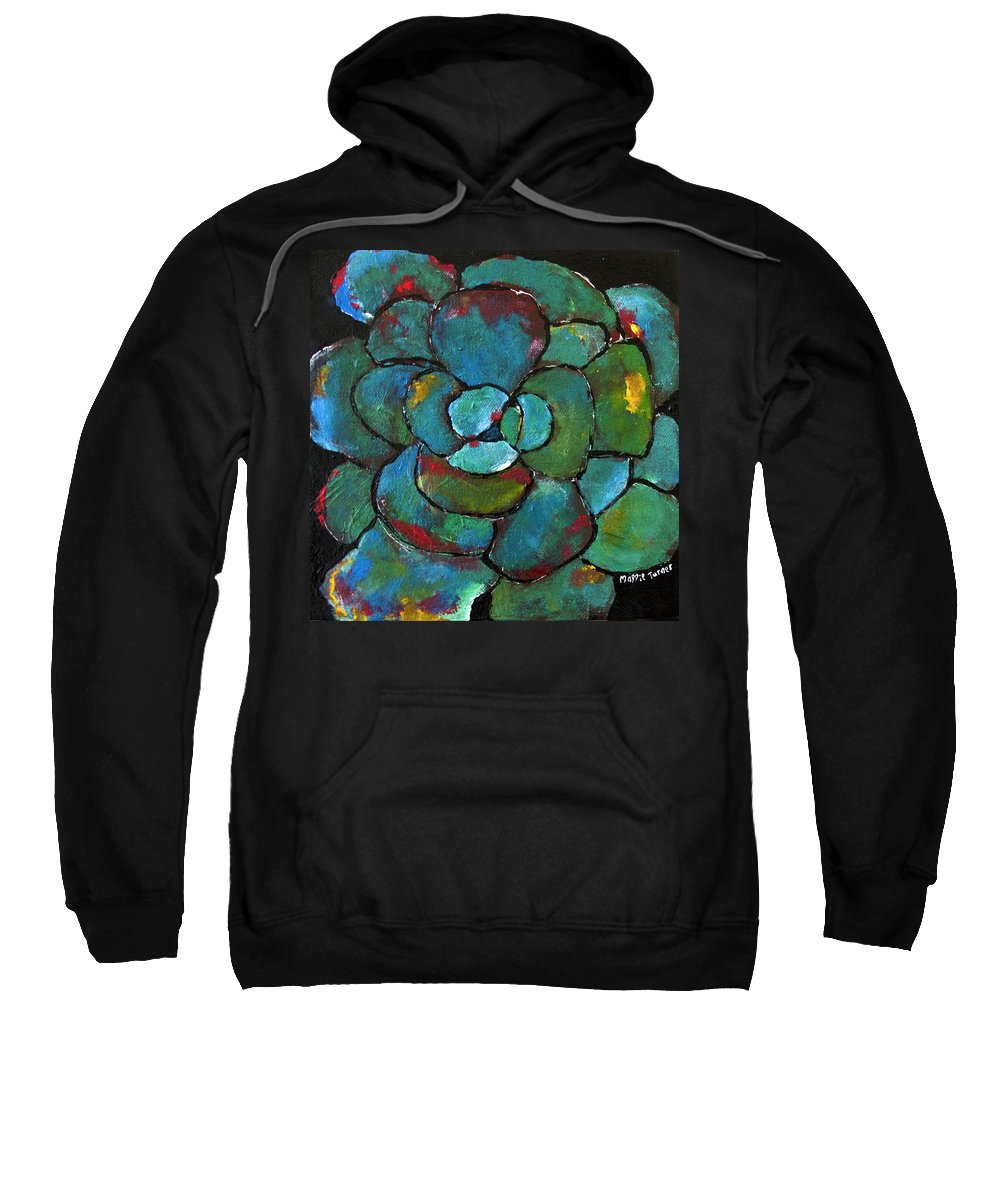 Agave Sweatshirt featuring the painting Turquoise Agave by Maggie Turner
