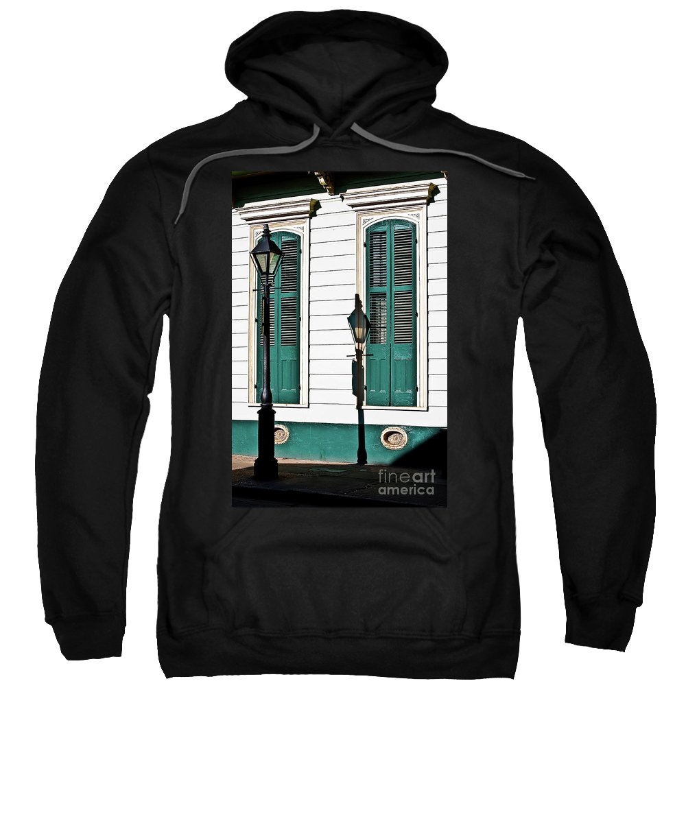 Lamp Post Sweatshirt featuring the photograph Turquoise Shutters by Frances Hattier