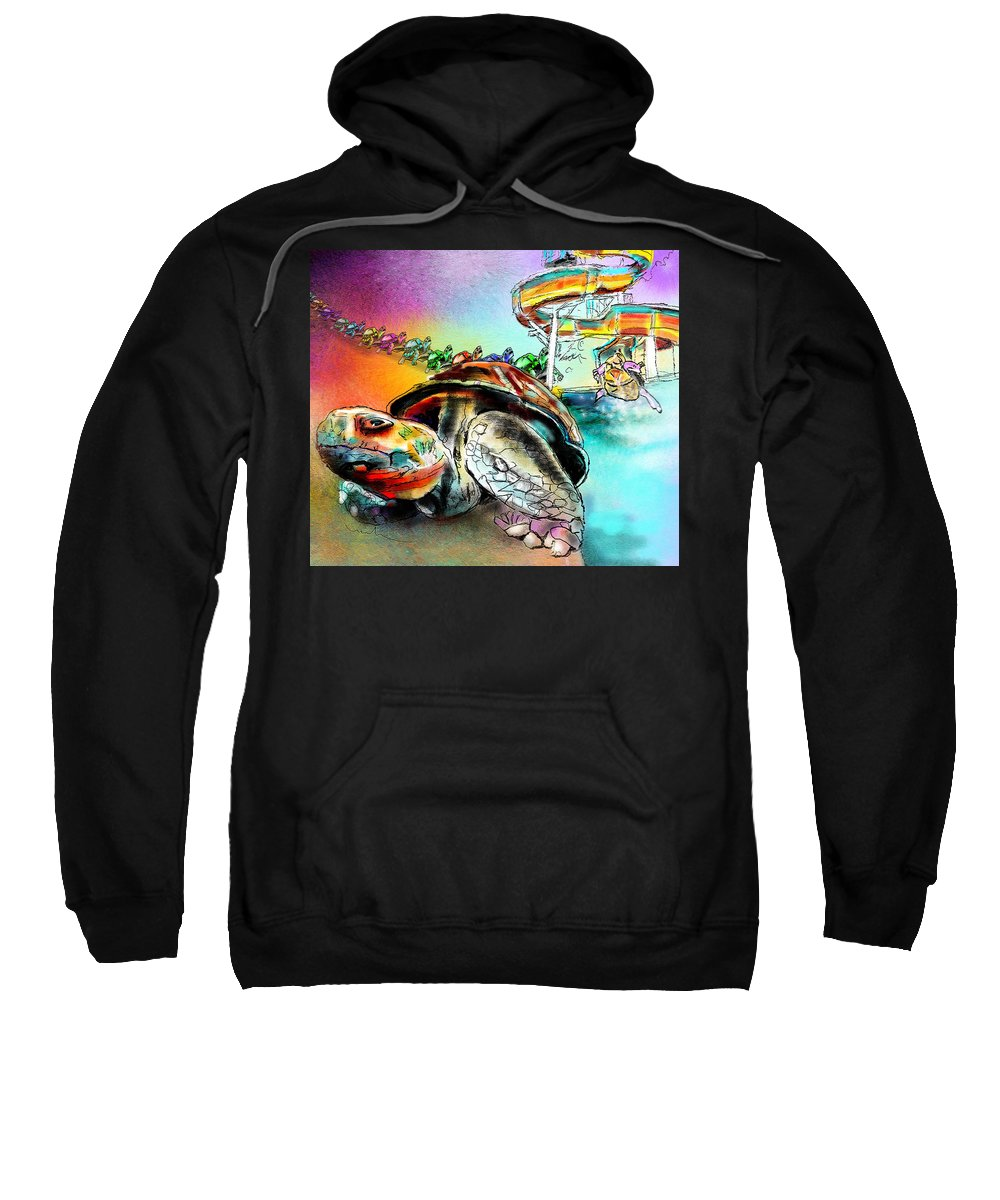 Turtle Sweatshirt featuring the painting Turtle Slide by Miki De Goodaboom
