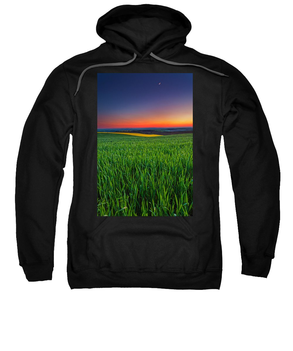 Dusk Sweatshirt featuring the photograph Twilight Fields by Evgeni Dinev
