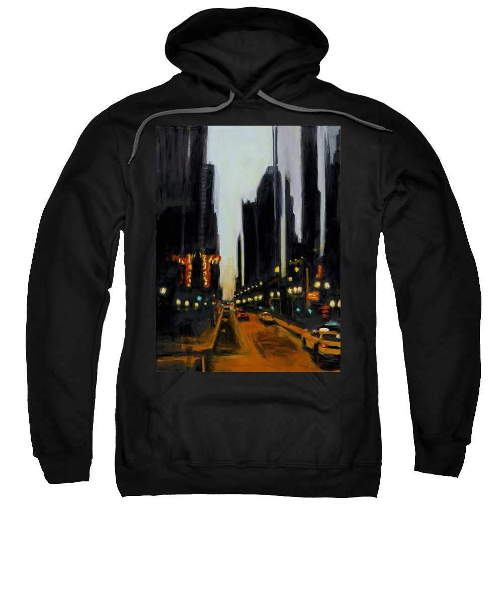 Rob Reeves Sweatshirt featuring the painting Twilight In Chicago by Robert Reeves