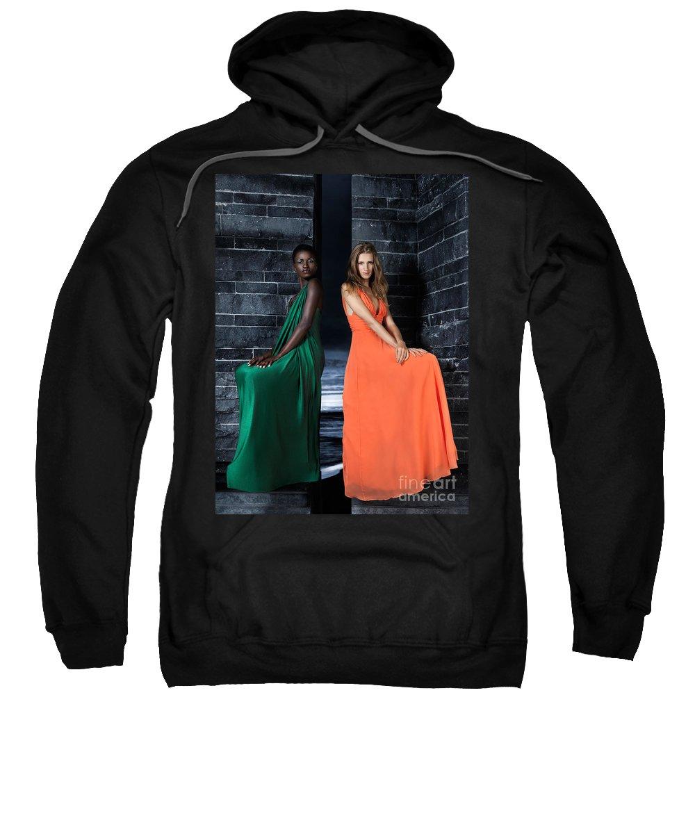 Women Sweatshirt featuring the photograph Two Beautiful Women In Elegant Long Dresses by Oleksiy Maksymenko