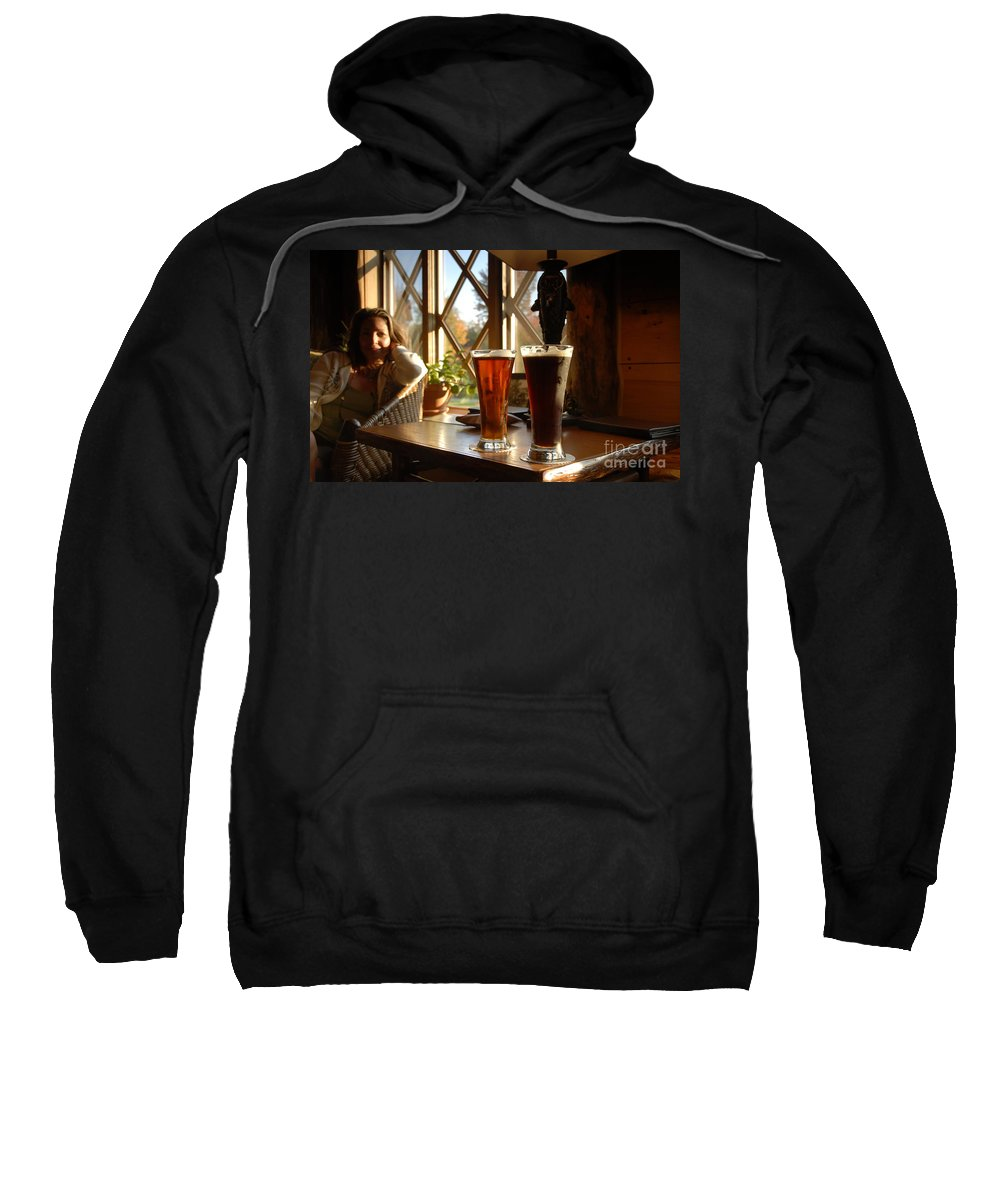 Beer Sweatshirt featuring the photograph Two Beers At The Lodge by David Lee Thompson