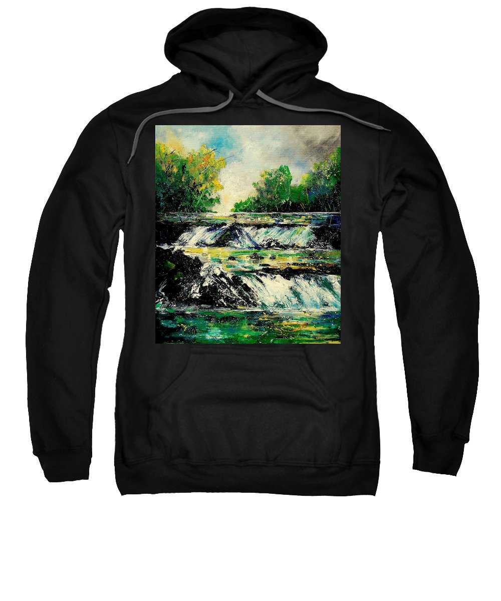 River Sweatshirt featuring the painting Two Falls by Pol Ledent