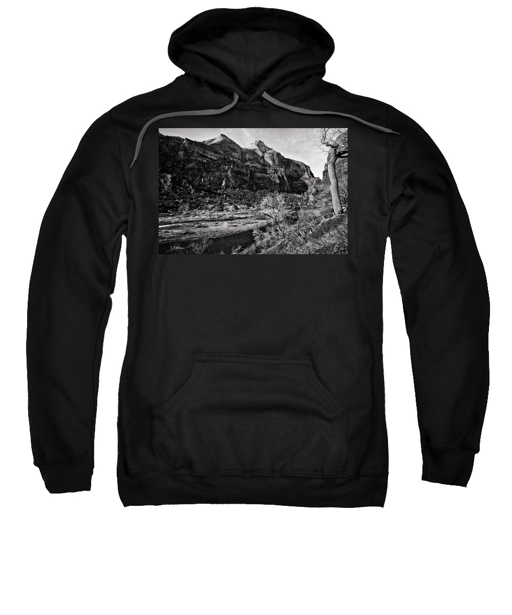 Art Photograph Sweatshirt featuring the photograph Two Peaks - Bw by Christopher Holmes