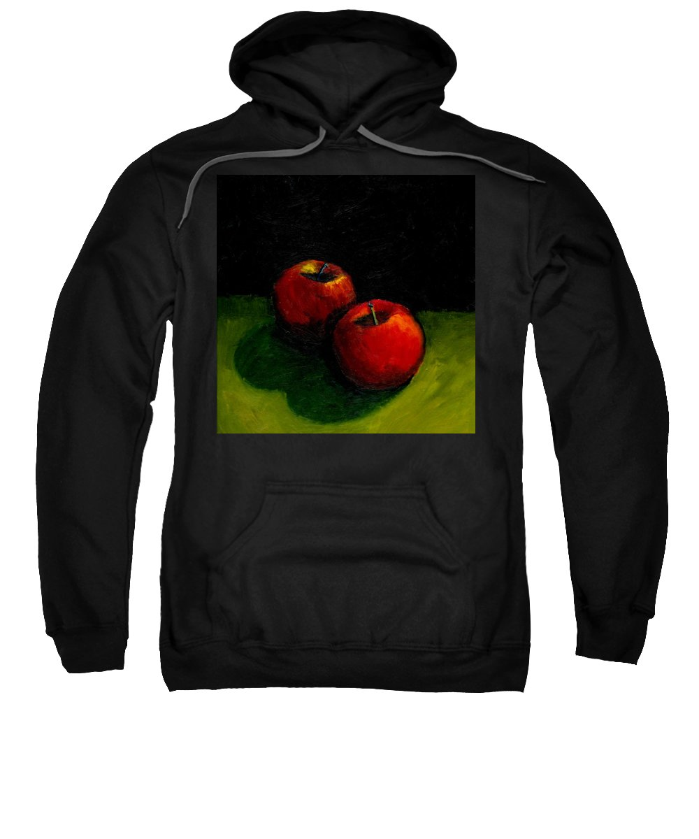 Red Sweatshirt featuring the painting Two Red Apples Still Life by Michelle Calkins