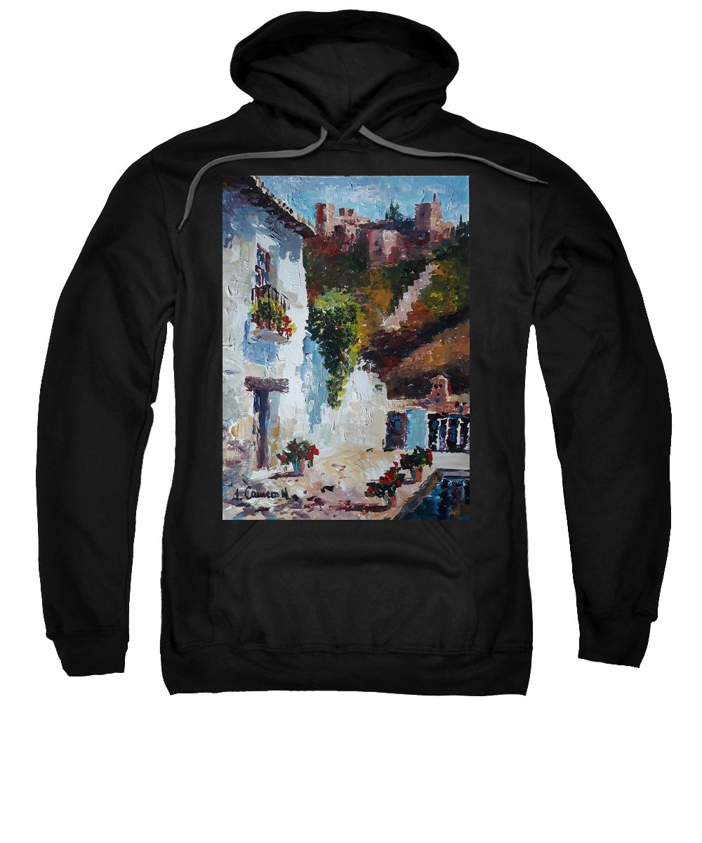 Sweatshirt featuring the painting Typical Street Of Granada. Original Acrylic On Paper by Jose Camero Hernandez