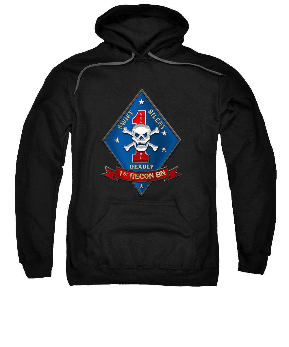 'military Insignia & Heraldry' Collection By Serge Averbukh Sweatshirt featuring the digital art U S M C 1st Reconnaissance Battalion - 1st Recon Bn Insignia Over Black Velvet by Serge Averbukh