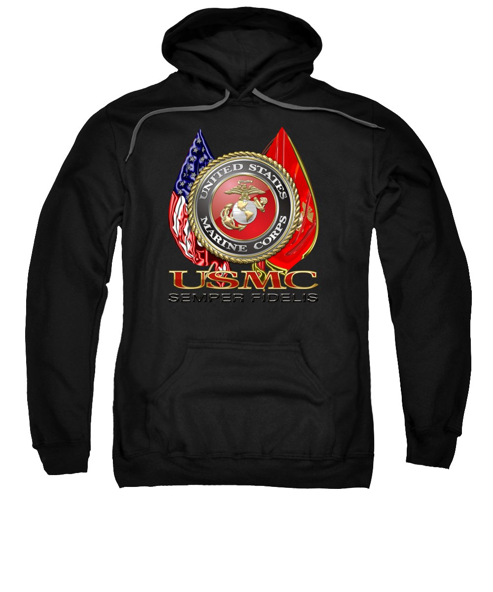 'military Insignia & Heraldry 3d' Collection By Serge Averbukh Sweatshirt featuring the digital art U. S. Marine Corps U S M C Emblem On Black by Serge Averbukh