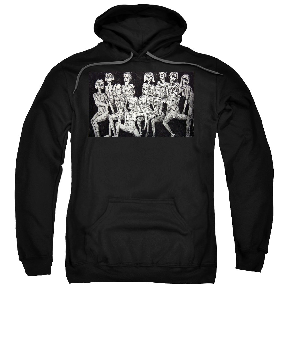 Etching Sweatshirt featuring the print Ugly Girls by Thomas Valentine