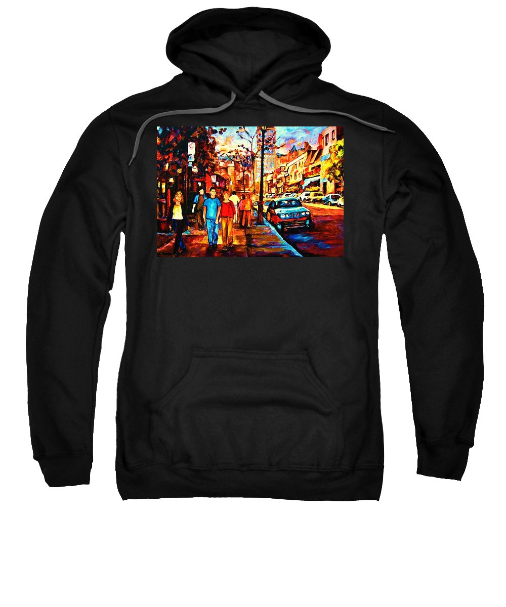 Montrealstreetscene Sweatshirt featuring the painting Under A Crescent Moon by Carole Spandau