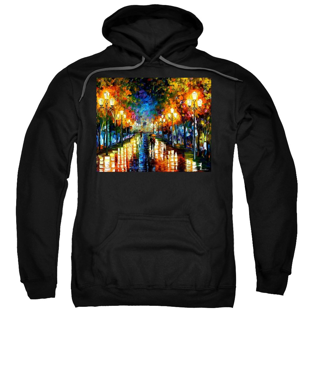 Afremov Sweatshirt featuring the painting Under Brown Umbrella by Leonid Afremov