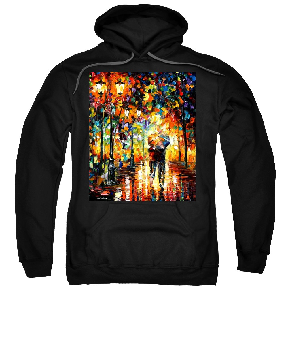 Afremov Sweatshirt featuring the painting Under One Umbrella by Leonid Afremov