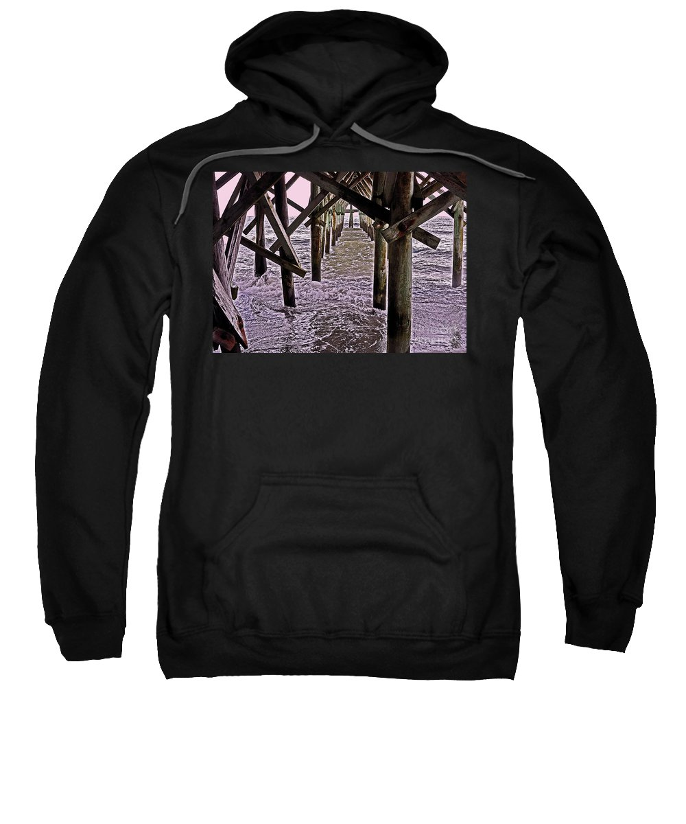 Pier Sweatshirt featuring the photograph Under Pier 14 by Lydia Holly
