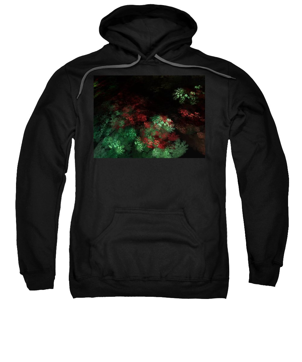 Abstract Digital Painting Sweatshirt featuring the digital art Under The Forest Canopy by David Lane
