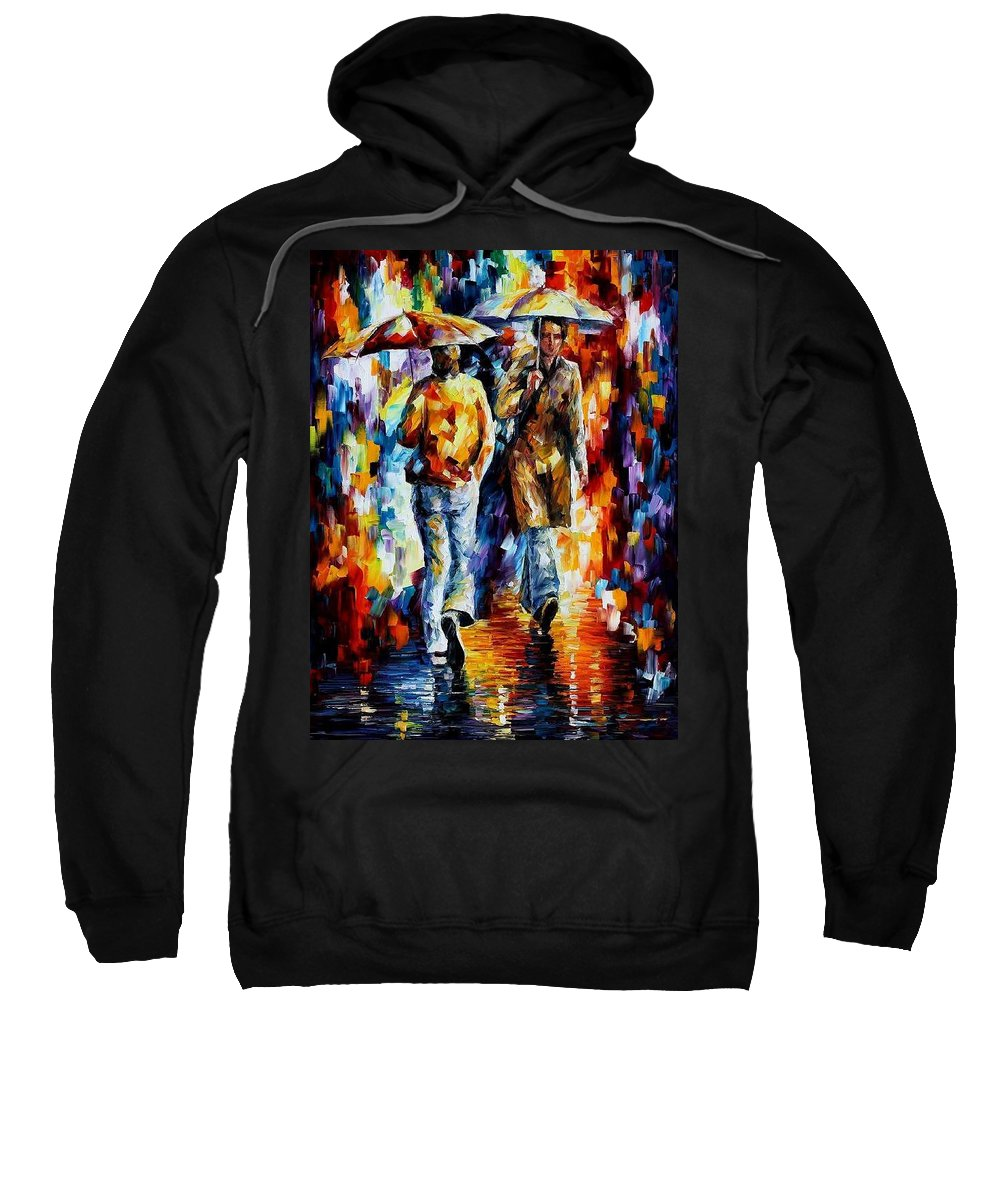 Afremov Sweatshirt featuring the painting Unexpected Meeting by Leonid Afremov