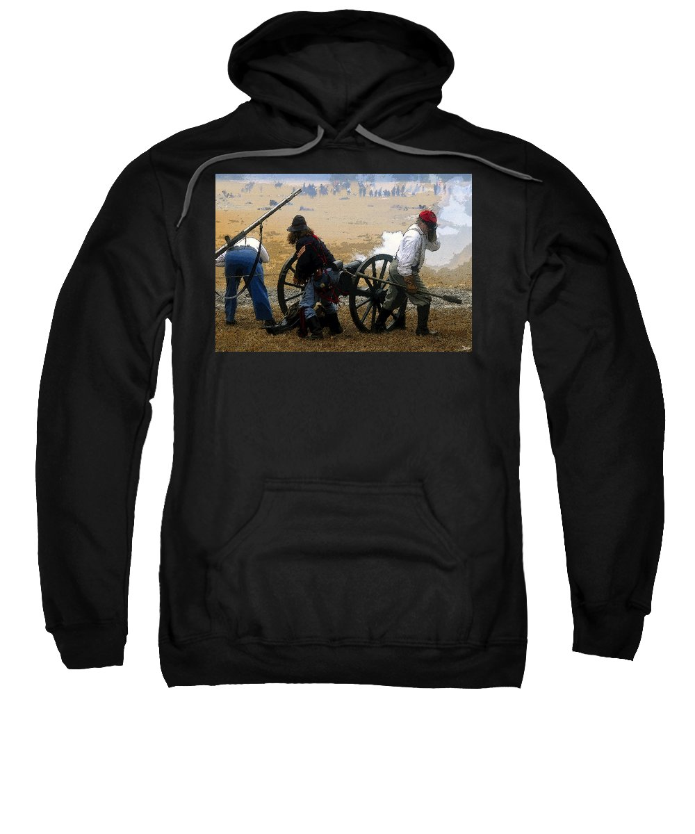 Art Sweatshirt featuring the painting Union Canonniers by David Lee Thompson