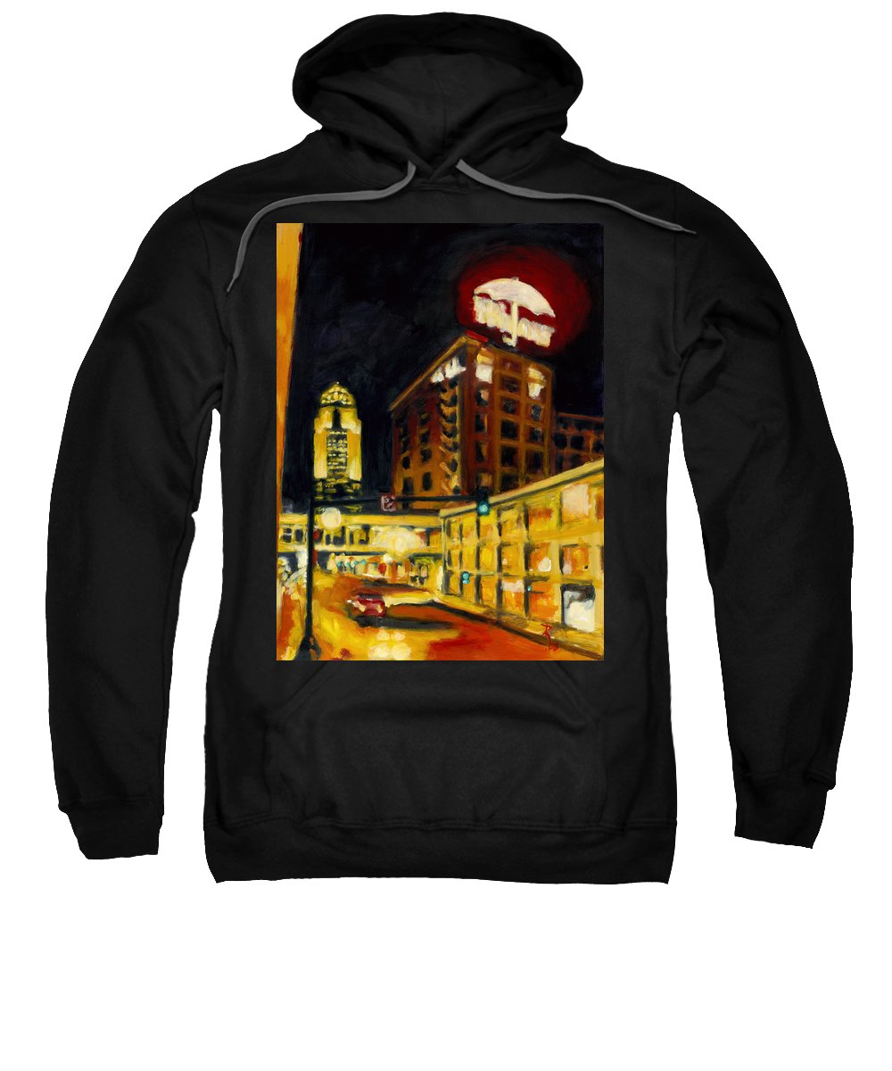 Rob Reeves Sweatshirt featuring the painting Untitled In Red And Gold by Robert Reeves