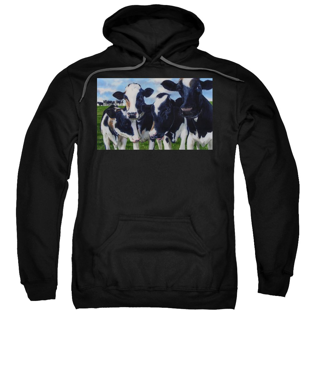 Cows Sweatshirt featuring the painting Up Front by Denny Bond