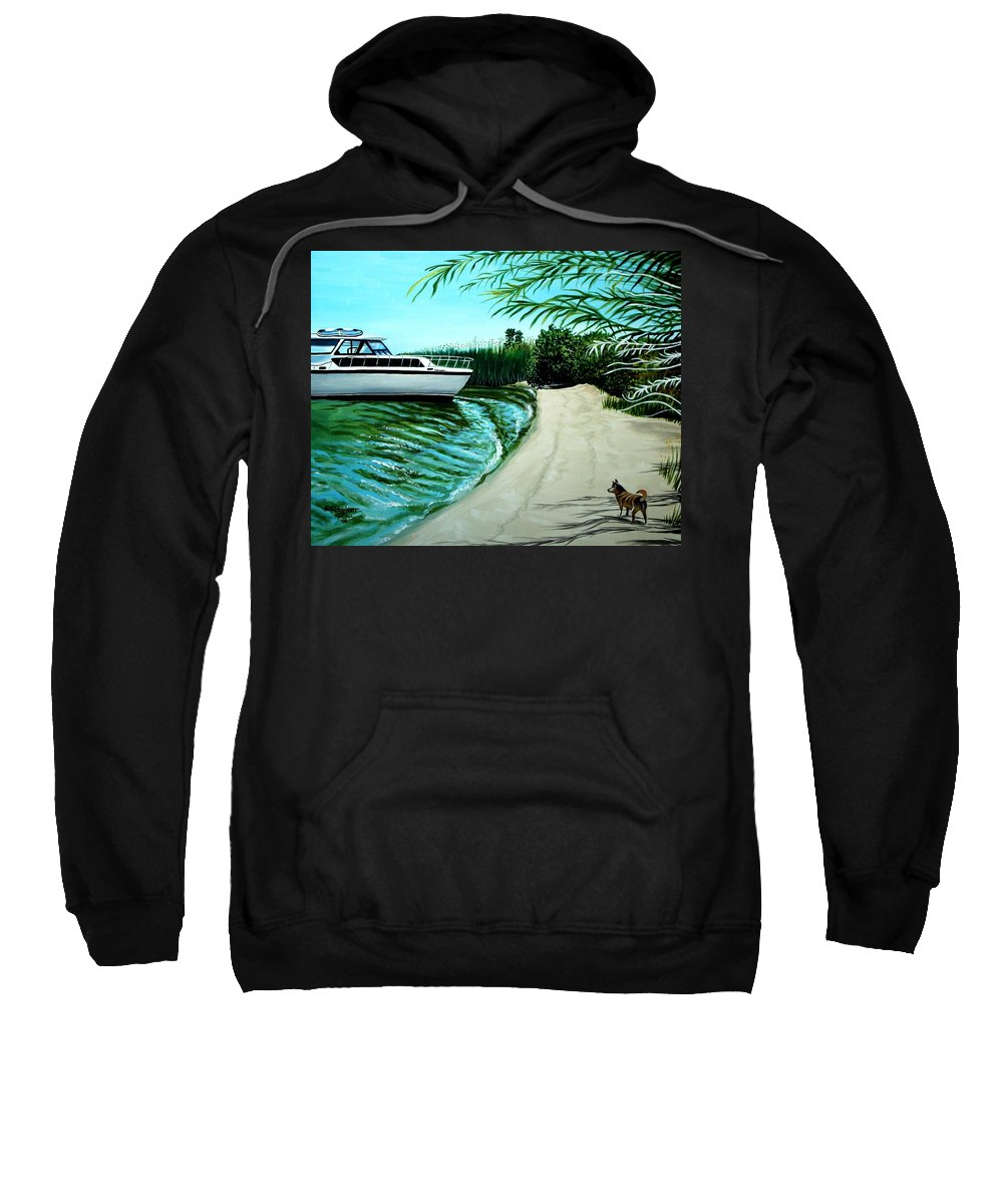 Beach Sweatshirt featuring the painting Upon Ashore by Elizabeth Robinette Tyndall