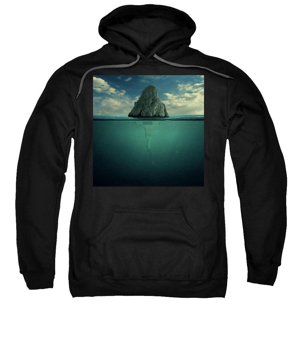 Down Sweatshirt featuring the digital art Upside Down by Zoltan Toth