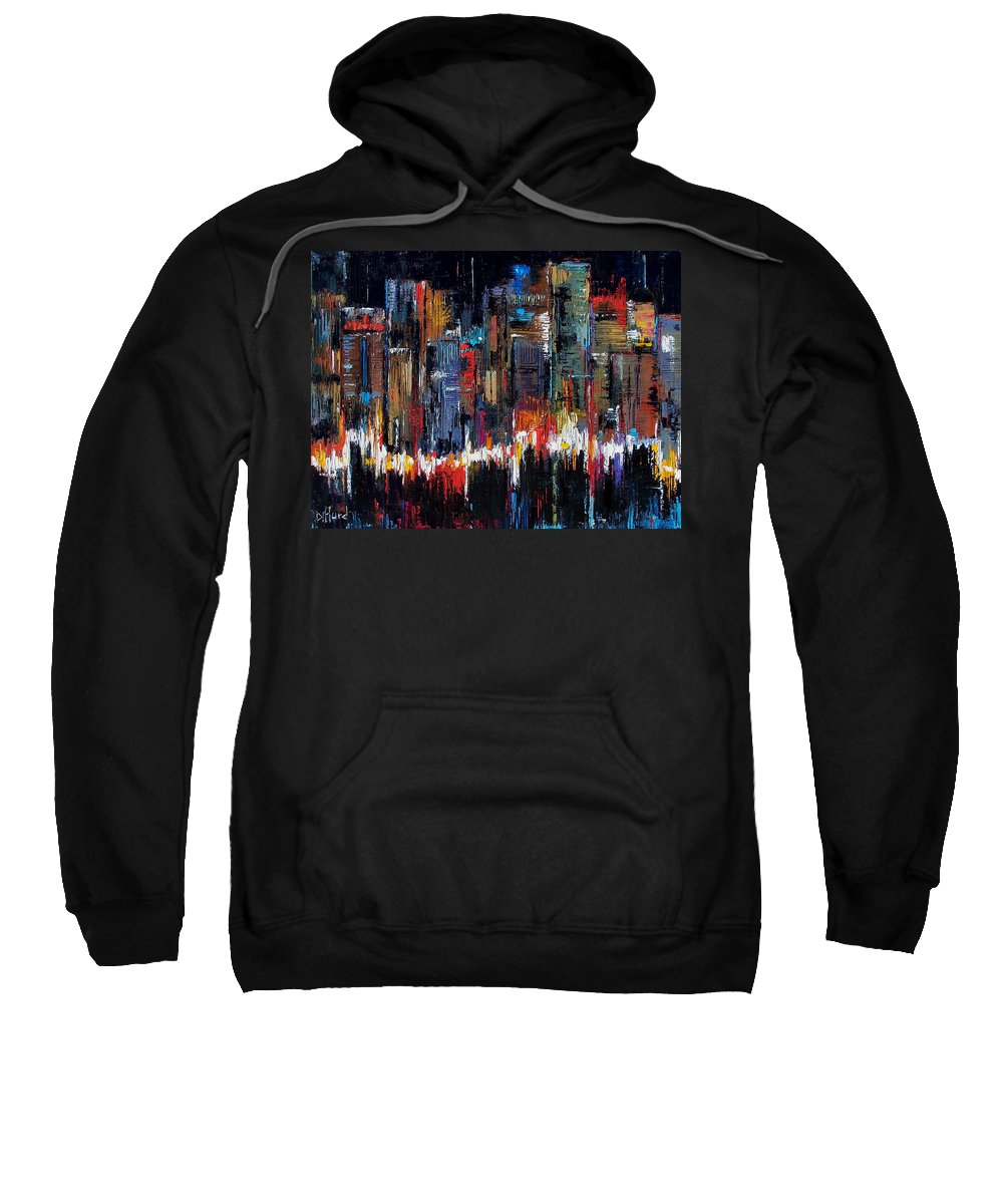 Abstract Sweatshirt featuring the painting Urban Pulse by Debra Hurd