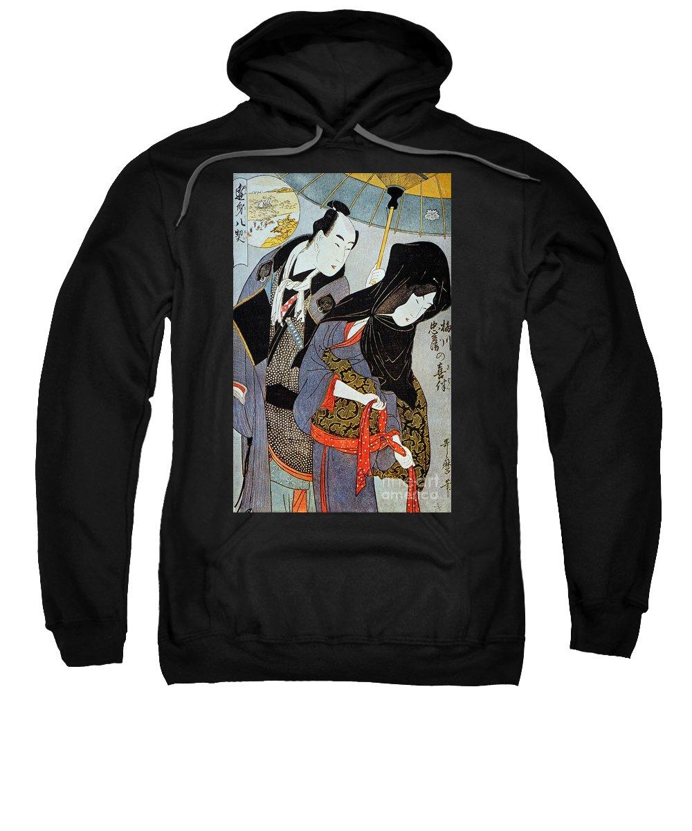 1797 Sweatshirt featuring the photograph Utamaro: Lovers, 1797 by Granger