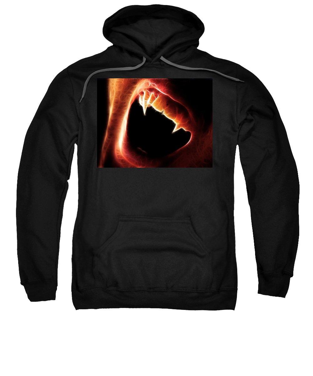 Vampire Sweatshirt featuring the digital art Vampire Fangs by Paul Van Scott