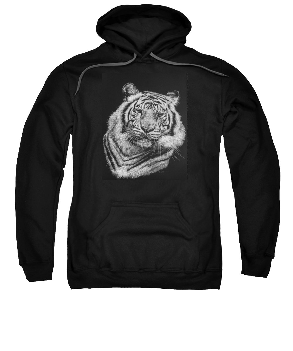 Tiger Sweatshirt featuring the drawing Variance by Barbara Keith