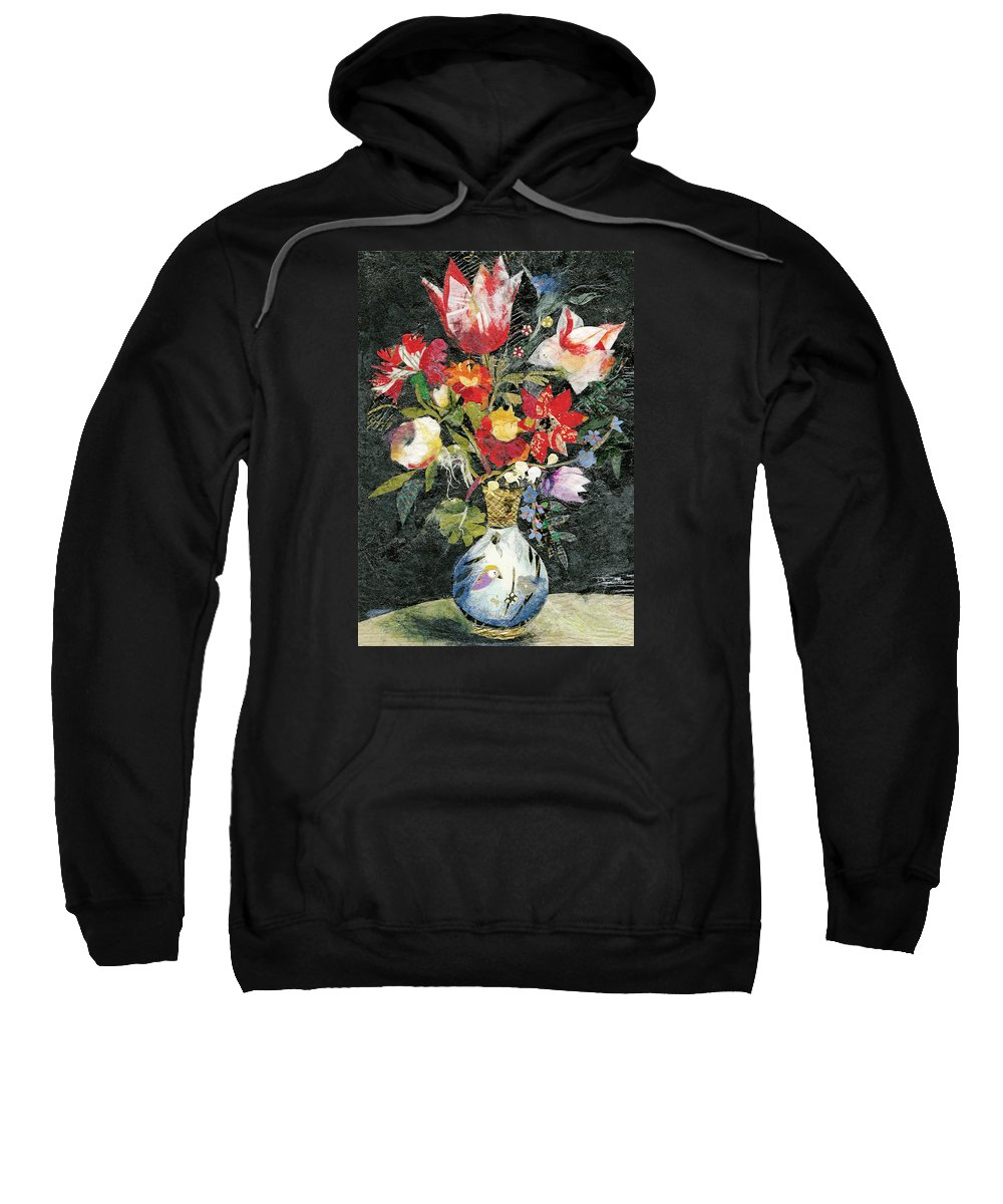 Limited Edition Prints Sweatshirt featuring the painting Vase With A Bird by Nira Schwartz
