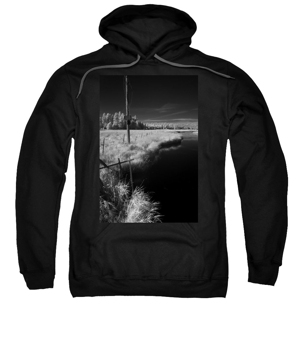 B&w Sweatshirt featuring the photograph Vay Road Ditch 6 by Lee Santa
