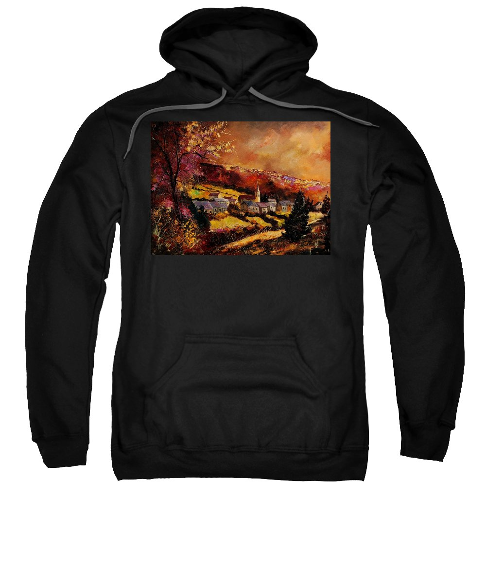 River Sweatshirt featuring the painting Vencimont Village Ardennes by Pol Ledent