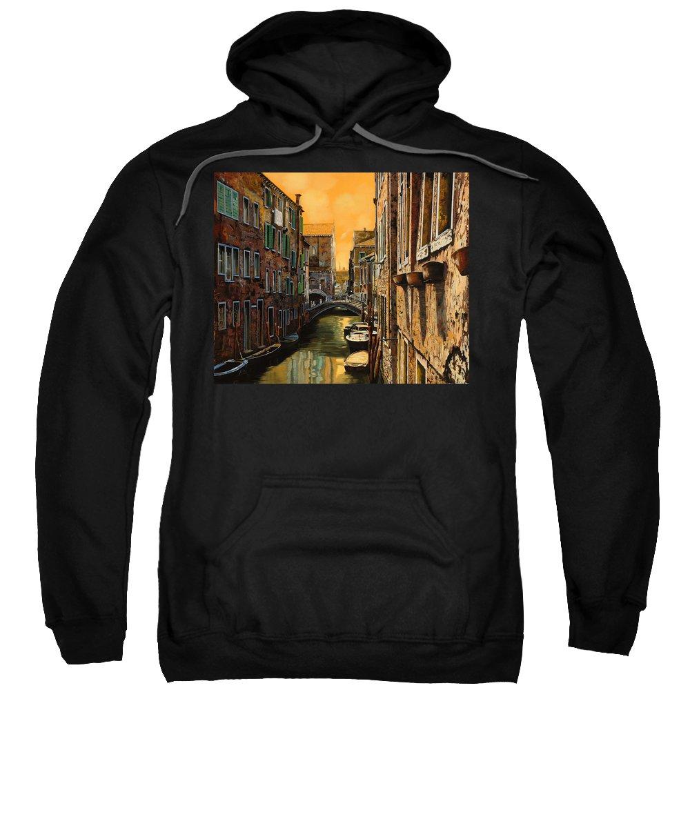 Venice Sweatshirt featuring the painting Venezia Al Tramonto by Guido Borelli