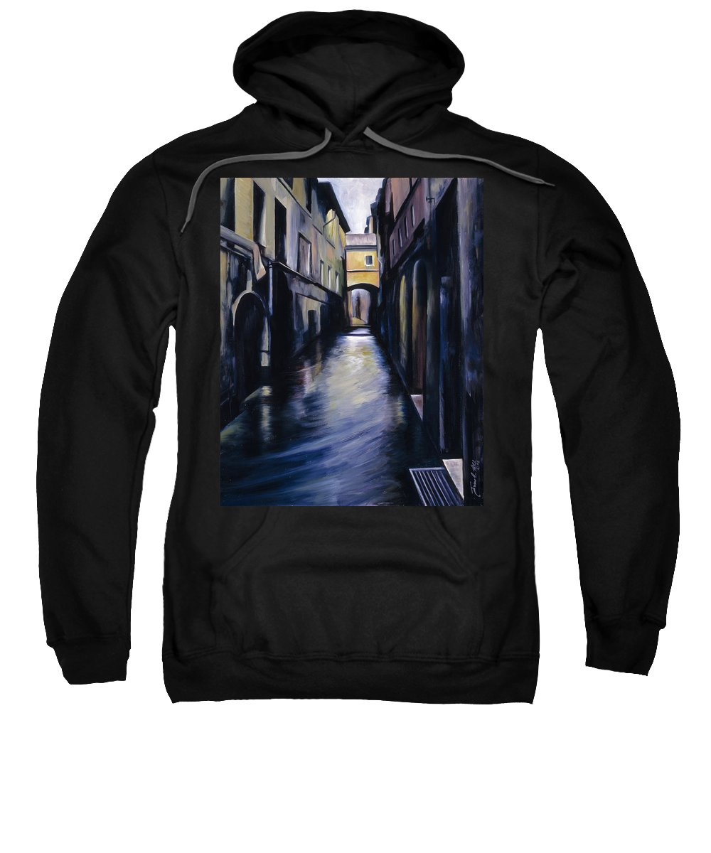 Street; Canal; Venice ; Desert; Abandoned; Delapidated; Lost; Highway; Route 66; Road; Vacancy; Run-down; Building; Old Signage; Nastalgia; Vintage; James Christopher Hill; Jameshillgallery.com; Foliage; Sky; Realism; Oils Sweatshirt featuring the painting Venice by James Christopher Hill