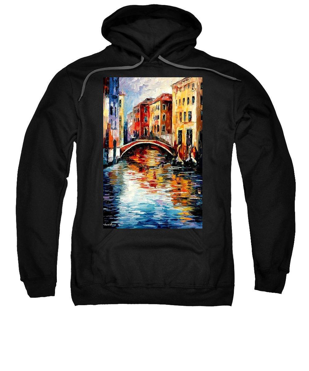 Landscape Sweatshirt featuring the painting Venice by Leonid Afremov